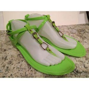 Ralph Lauren collection jelly sandals neon green